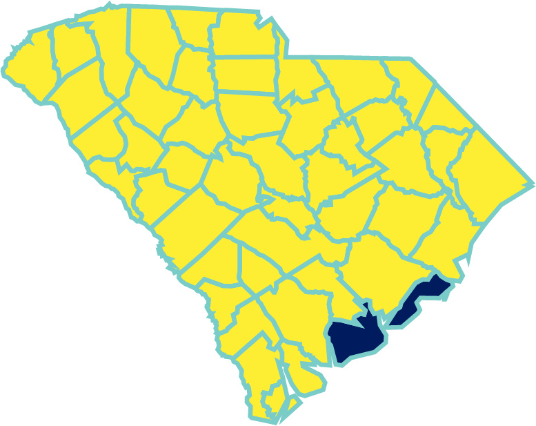 Map showing South Carolina counties